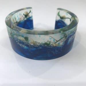 Blue and Green Bio Resin Cuff