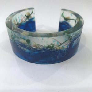 Dark Blue Ocean Wave And Marine Debris Bangle