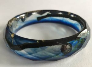 blue bangle with gold leaf