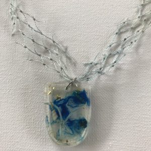 Blue Themed Bio Resin and Marine Debris Necklace