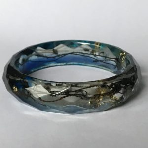 Dark Blue Bangle With Gold Leaf