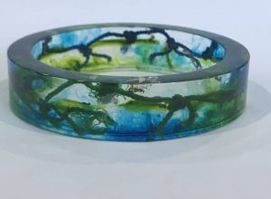 Green And Blue Bangle With Marine Debris
