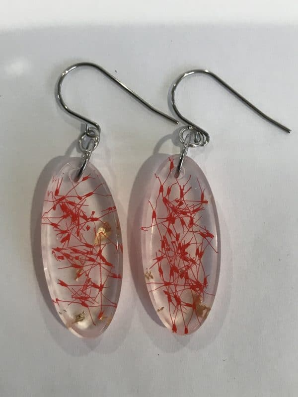 Red Earrings With Gold Leaf