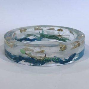 Blue And White Bangle With Sea Shells