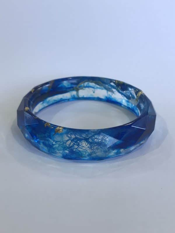 Bangle In Shades Of Blue With Gold Leaf