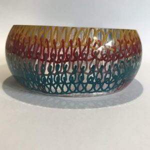 Bangle With Multicolored Woven Panel
