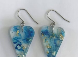 Eco Chic Earrings With Gold Leaf